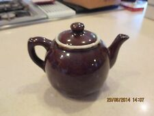 "Vintage 4"" Brown Ceramic Tea Pot with Lid - Crown Marking on Bottom"
