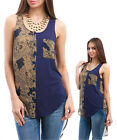 Ladies High Low Navy Sleeveless Shirt Tunic Top Size 8 10 12 14 S M L NEW