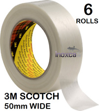 More details for 6 rolls x 50 mtr  3m scotch sticky continuous glass filament tape 8956 50mm wide