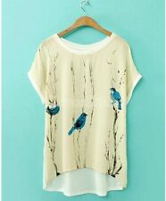 Cotton Blend Crew Neck Batwing Tops & Shirts for Women
