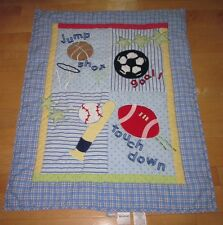 Just Born Blue Jump Shot Touch Down Sports Balls Baby Crib Quilt Blanket