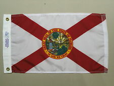 "Florida 1900 State Indoor Outdoor Dyed Nylon Boat Flag Grommets 12"" X 18"""