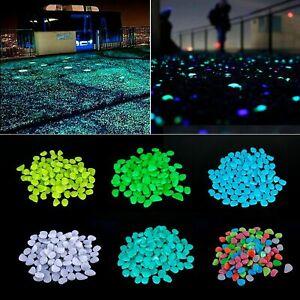 50/100X Glow in the Dark Pebble Luminous Stone Garden Walkway Fish Tank Aquarium