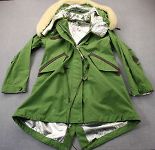COACH Made Italy Green Sheep Fur Leather Trim Snorkal Parka Jacket NWT  S  $1295