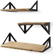 BAYKA Floating Shelves Wall Mounted, Rustic Wood Wall Shelves Set of 3