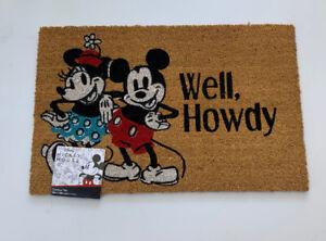 NWT Disney Mickey Minnie Mouse Well Howdy Mat Coir Fiber 18×28 Outdoor Entryway
