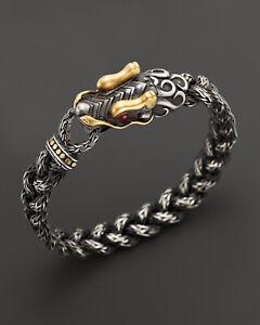 John Hardy Oxidized Silver 18k Gold Ruby Eyed Naga Dragon Bracelet EUC