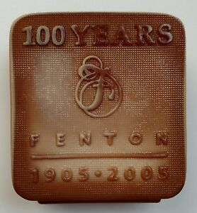 Fenton Chocolate Glass Logo 100th Anniversary Limited Edition 2005 14/300 Signed