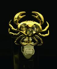 24K Placcato Oro Cristallo Swarovski Borchiato Crab Sensore Notte Ul Elencati