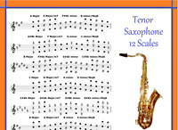 TENOR LEAD SAXOPHONE POSTER - 12 SCALES FOR LEAD SAX IN TUBE