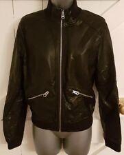 BIKER Jacket Size 12 Black FAUX LEATHER Women's Ladies VGC Casual