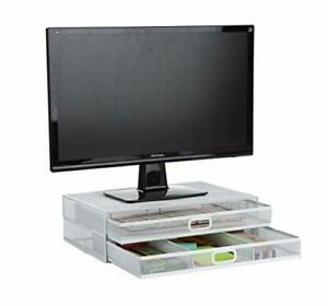 Mind Reader 2TDMESHY-WHT Metal Monitor Stand Riser with 2 Drawers Desk Organi...