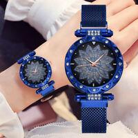 Sternenhimmel Uhr magnetische Milanese Loop Band Quarz Diamant Uhren Damen Neu