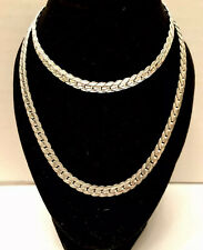 Silver Flat Snake Patterns Neckless & Bracelet Set Of Two Items