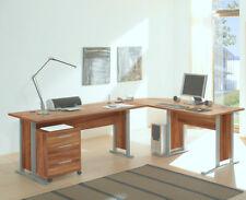 Winkelschreibtisch Schreibtisch Bürotisch OFFICE LINE mit Rollcontainer Walnuss