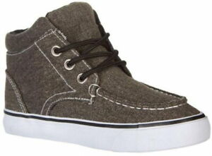 Legendary Laces Sneakers High Top Shoes Boys Grey Canvas Parker Athletic