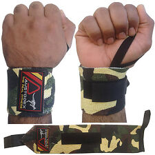 AUSTODEX CAMO WEIGHT LIFTING GYM WRIST SUPPORT STRAPS WRAPS BODYBUILDING GLOVES