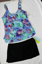 Christina Underwire Tankini Top sz 12D cup, Black Skirted Bottoms size L/11,12
