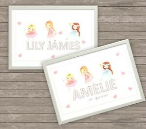 Personalised FAIRY Children's Baby's Name Plaque - Print for bedroom / nursery