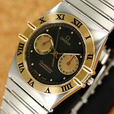 Mens Authentic Omega Constellation Day Date Black Dial 18K Gold Bezel Quartz