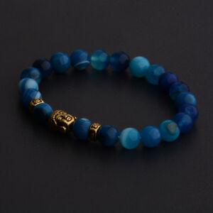 Charm Natural Gemstone Beads Buddha Head Beaded Lava Rock Handmade Bracelets