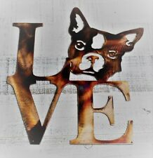 "Love Boston Terrier Metal Wall Art Decor 10"" x 11"" Copper/Bronze"
