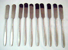 10 Stainless appetizer Pate Butter KNIVES Unknown maker 6 1/2 Satin Handle JAPAN