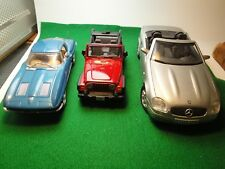 1/24 Scale Corvete 1963 Sting Ray.1/27 Jeep Rubicon.1/18 Mercedes Benz 1996 SLK