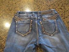 LA Idol Capri Jeans women's junior 7 W 30 x L 18 Rhinestones Bling sparkle wings