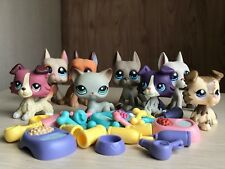8lot Littlest Pet Shop LPS Toy Cat #391 Great Dane Dog Collie&4xAccessories Rare
