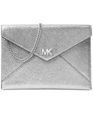 New MICHAEL Kors Silver Leather Barbara Soft Envelope Clutch Purse Crossbody Bag