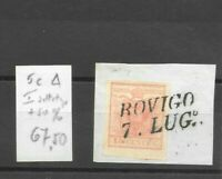 Lombardo veneto 15 cent n.5c Rovigo