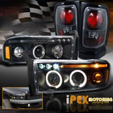 1994-2001 Dodge Ram 1500 2500 Halo Projector LED Headlights + Tail Lights Black