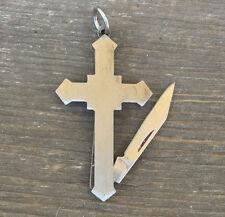 Vtg knife pendant Figural Cross shape Silver fob nos 1970s pocket folding old