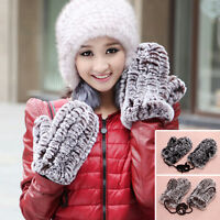 Stylish Real Rex Rabbit Fur Winter Warm Gloves Mittens w/hanging String 2 Colors