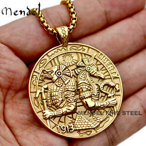 MENDEL Mens Gold Egyptian Hip Hop Anubis Pendant Necklace Stainless Steel Chain