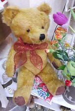 Antique  teddy bear golden jointed mohair 1940s collectors teddy bear