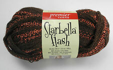 Starbella Flash Acrylic/Glitter Yarn - 1 Skein Copper & Brown Color #16-4 Inlay