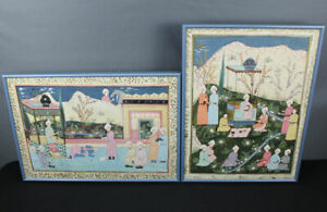 "Two Big Islamic Mughal court paintings on silk India Moghul 28""! Indo Persian"