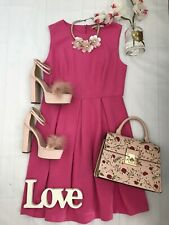 Boden 14R Pink Skater tea dress vgc ribbed pleated wedding guest occasion summer