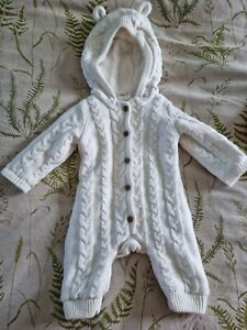 Fred And Flo Snuggle Suit, Knit, Bear Ears, Pram Suit, Warm, hood, Upto 3 months