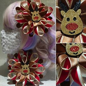 Handmade glitter reindeer red/brown/cream/gold Christmas large Romany hair bows