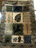 Moose / Bear Blue And Green Wildlife Roomsize Rug For The Home 5X8 Roomsize