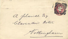 GB 1896 QV 2 D red cut-out (dates 1 10 92, ex registered envelope) on cover R!