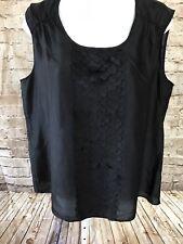 NWT Talbots Women's Sz 14 Silk Blouse Sleeveless Front Fish Scale Trim Black