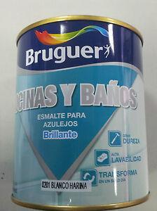 ESMALTE AZULEJOS BRUGUER 750 ML . COLOR BLANCO HARINA. ESPECIAL COCINAS Y BAÑOS