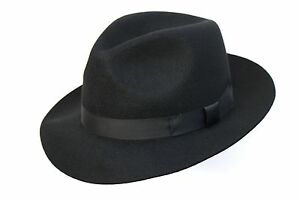 Brand New Black Wool Trilby Traditional High Quality Fedora Racing Hat GD