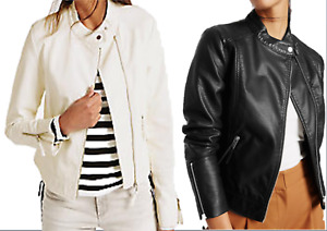 M&S COLLECTION Faux Leather Twin Pocket Zipped Moto Jacket