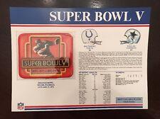 Super Bowl V Willabee & Ward Vintage Patch Cowboys Colts 1971 Nfl