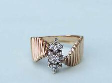Ladies Diamond Cluster Ring With 15 Genuine Diamonds  - 10K Yellow Gold